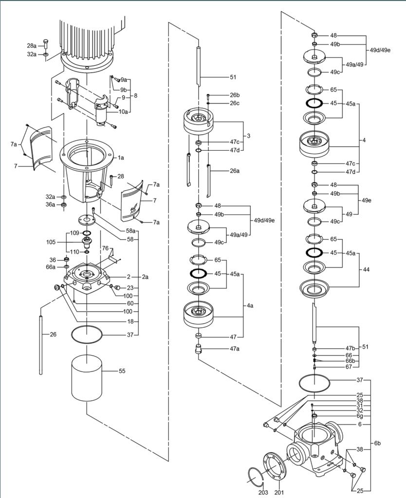 Деталировка насоса Grundfos CR 3-29 A-FGJ-A-E-HQQE артикул: 96533182