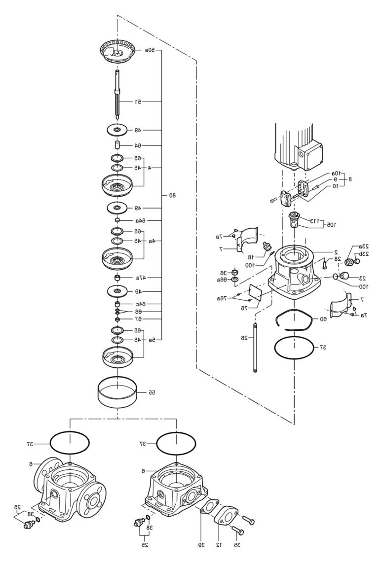 Деталировка насоса Grundfos CR 5-9 A-A-A-E-HQQE артикул: 96533269