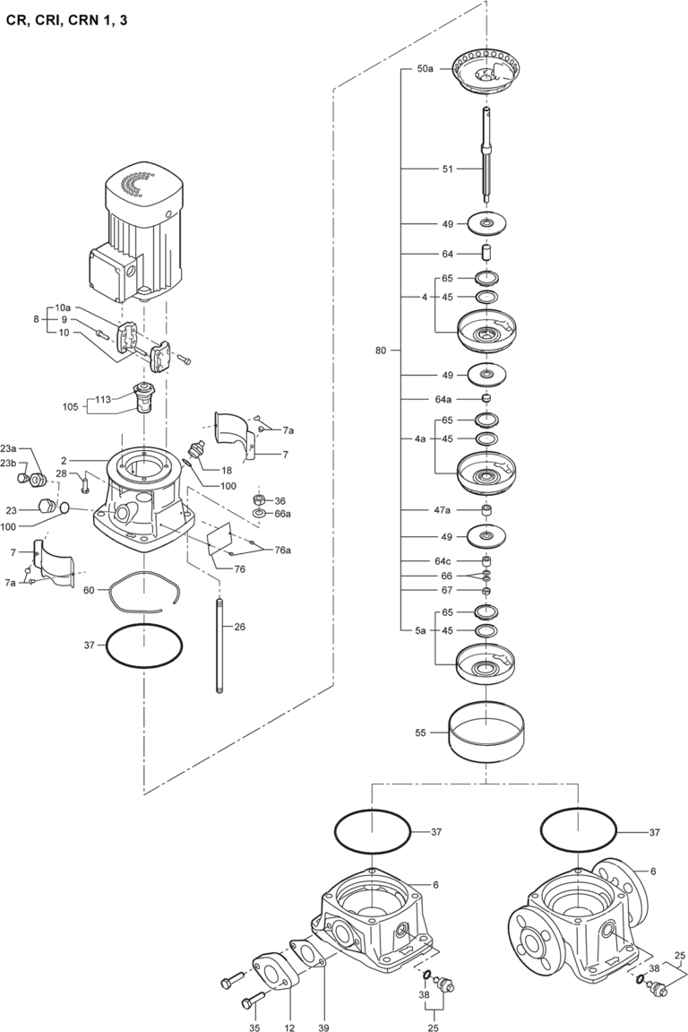 Деталировка насоса Grundfos CR 1-25 A-FGJ-A-E-HQQE артикул: 96533340