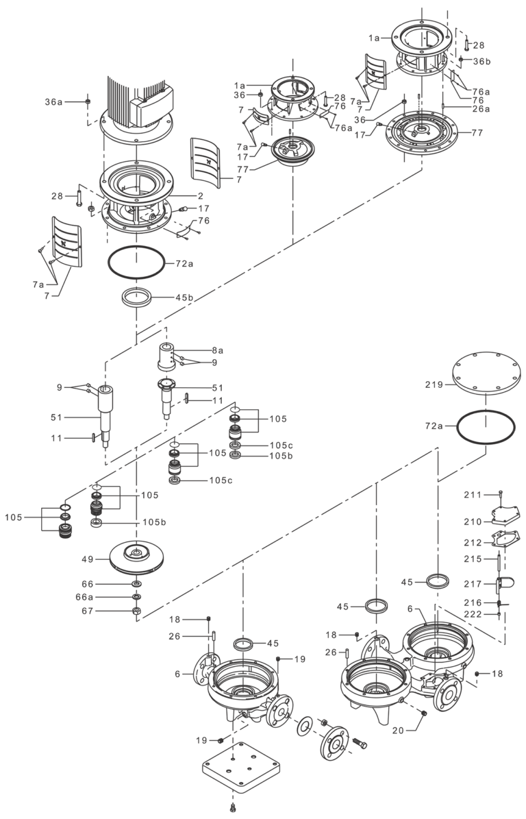 Деталировка насоса Grundfos TPD 80-240/2-A-F-B-BAQE 400D 50HZ артикул: 96108810