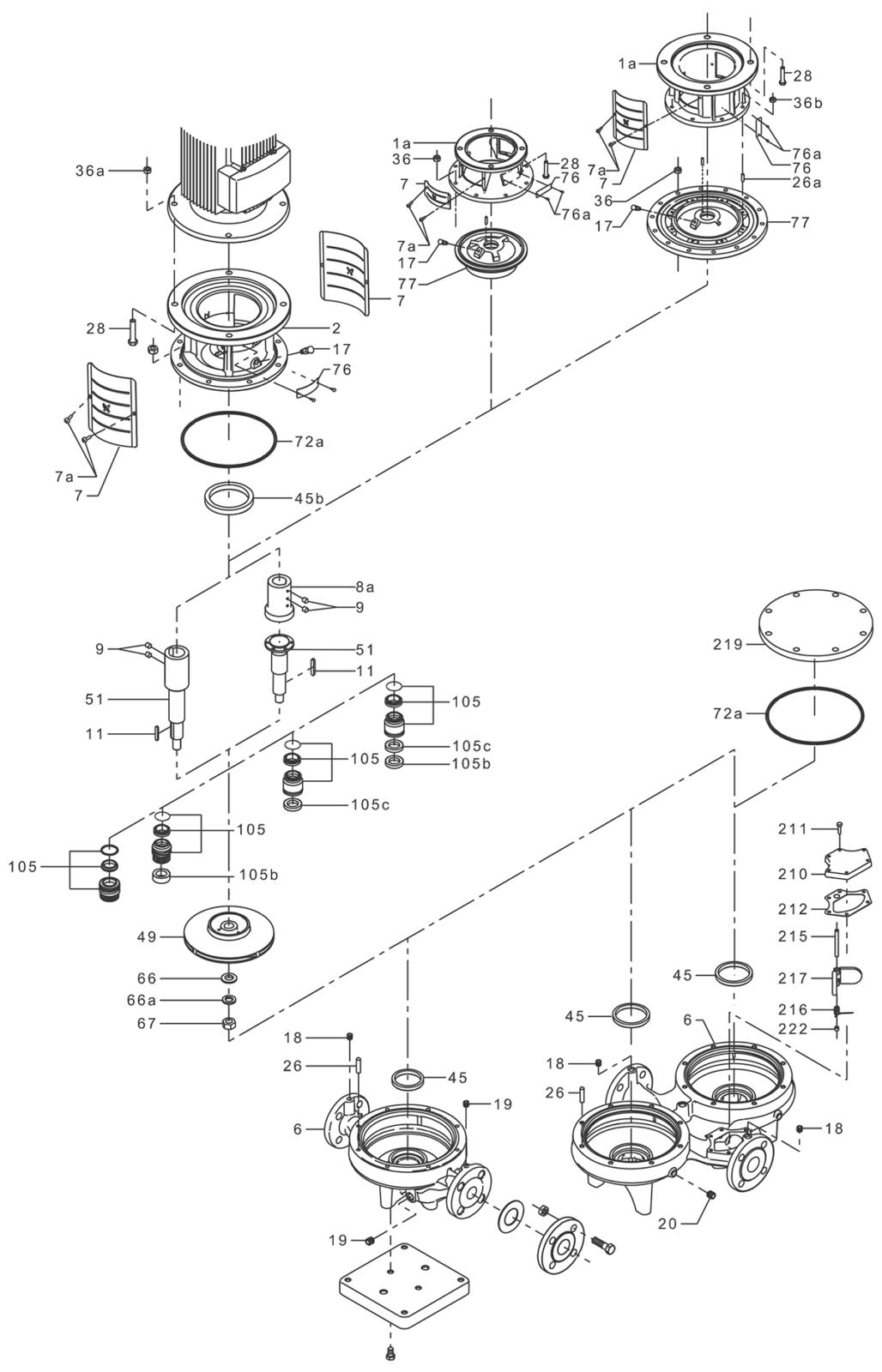 Деталировка насоса Grundfos TP 80-90/4 A-F-A-BQQE артикул: 96108602