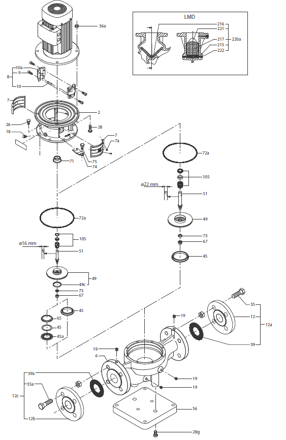 Запчасти для насосов Grundfos LM / LMD/ LME/ LMED