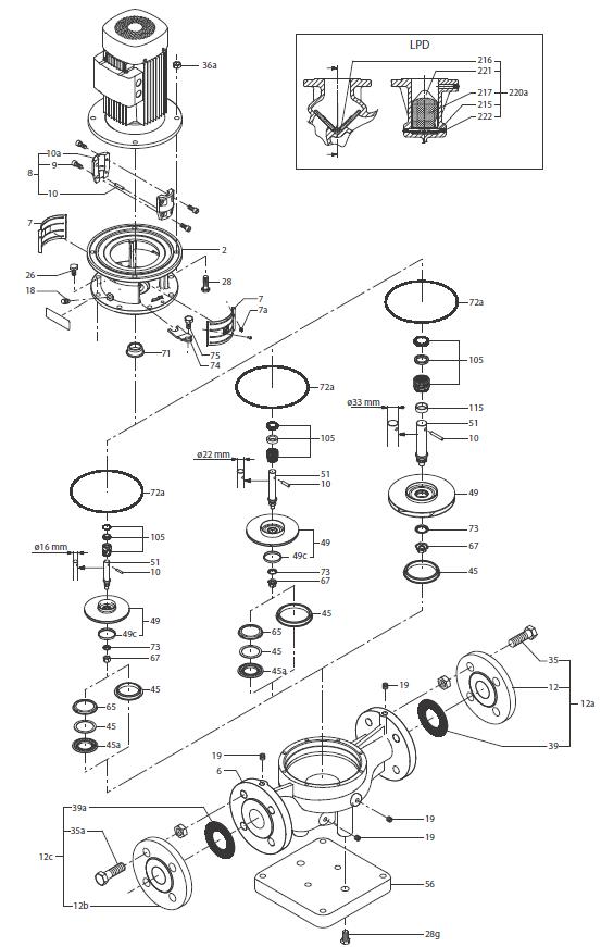 Запчасти для насосов Grundfos LP/ LPD/ LPE/ LPED