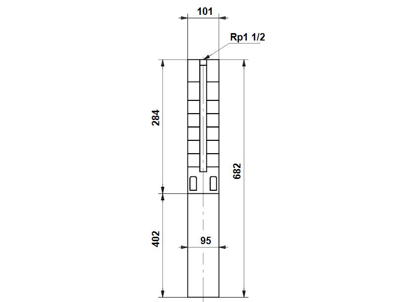 Габаритные размеры насоса Grundfos SP 5A-4N 0.75kW 3x380-415V 50Hz артикул: 5201904