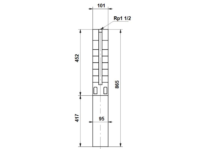 Габаритные размеры насоса Grundfos SP 5A-12N 1.1kW 3x380-415V 50Hz артикул: 5201912