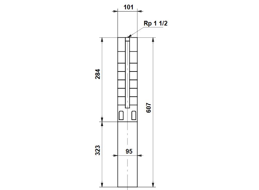 Габаритные размеры насоса Grundfos SP 5A-4NE 0.75kW 3x380-415V 50Hz артикул: 5221904
