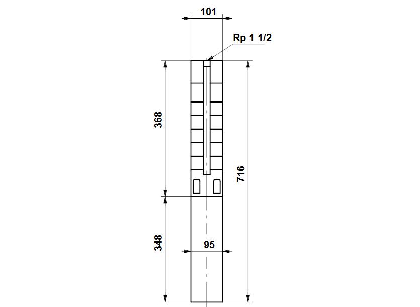 Габаритные размеры насоса Grundfos SP 5A-8NE 0.75kW 3x380-415V 50Hz артикул: 5221908