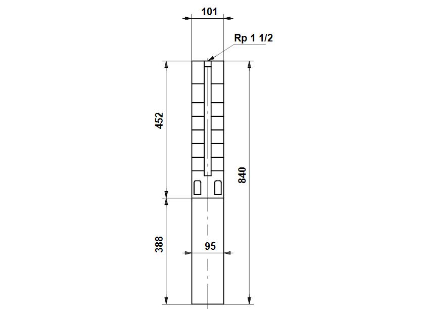 Габаритные размеры насоса Grundfos SP 5A-12NE 1.1kW 3x380-415V 50Hz артикул: 5221912