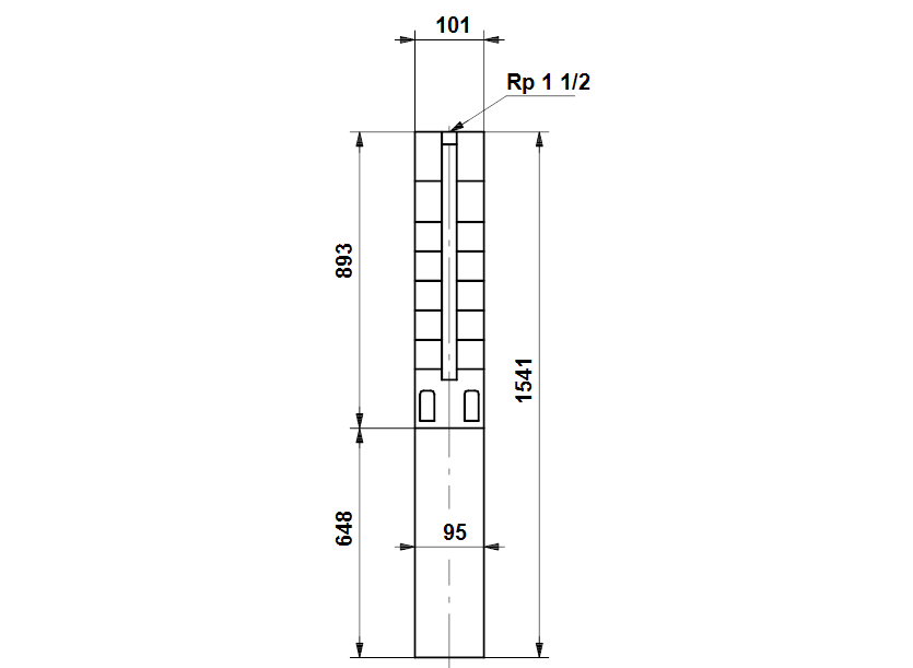 Габаритные размеры насоса Grundfos SP 5A-33NE       3.0kW 3x380-415V    50Hz артикул: 5221933