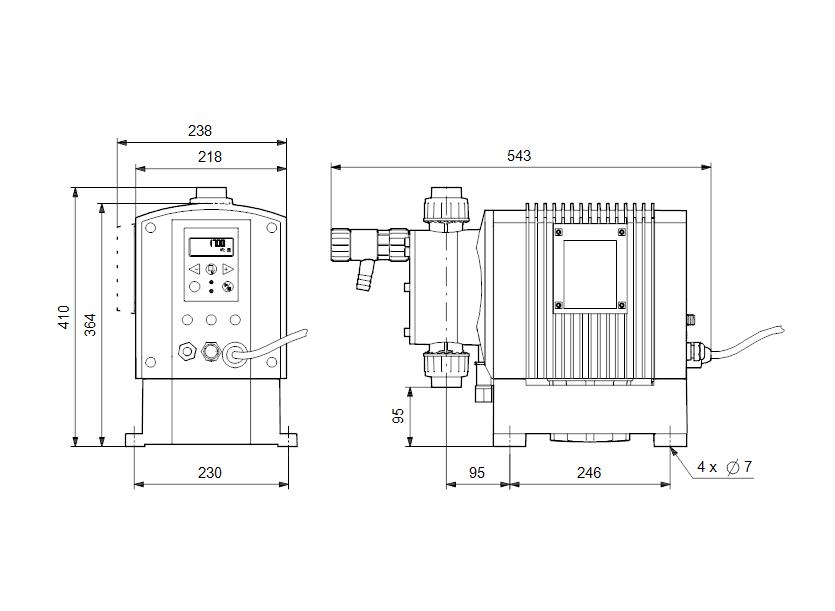 Габаритные размеры насоса Grundfos DME 375-10 B-PP/V/C-S-31A2A2F артикул: 95905075