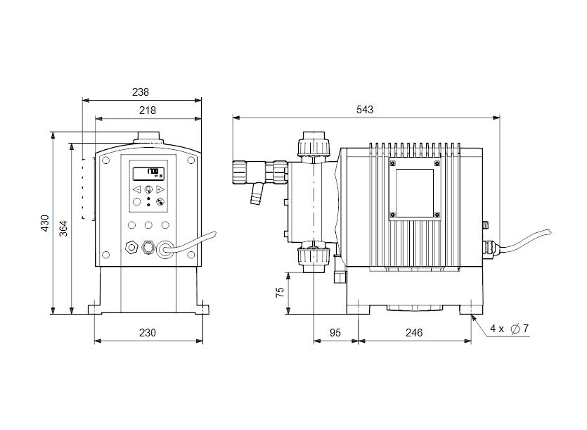 Габаритные размеры насоса Grundfos DME 940-4 B-PP/V/C-S-31A2A2F артикул: 95905263
