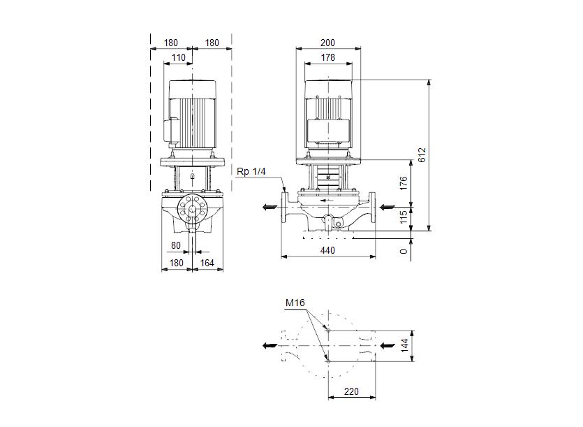 Габаритные размеры насоса Grundfos TP 80-90/4 A-F-A-BQQE артикул: 96108602