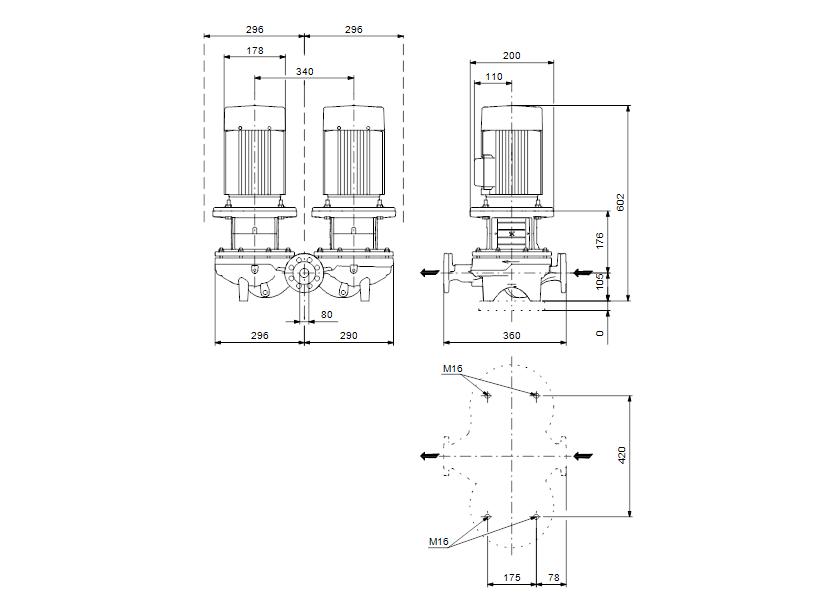 Габаритные размеры насоса Grundfos TPD 80-140/2-A-F-B-BAQE 400D 50HZ артикул: 96108807