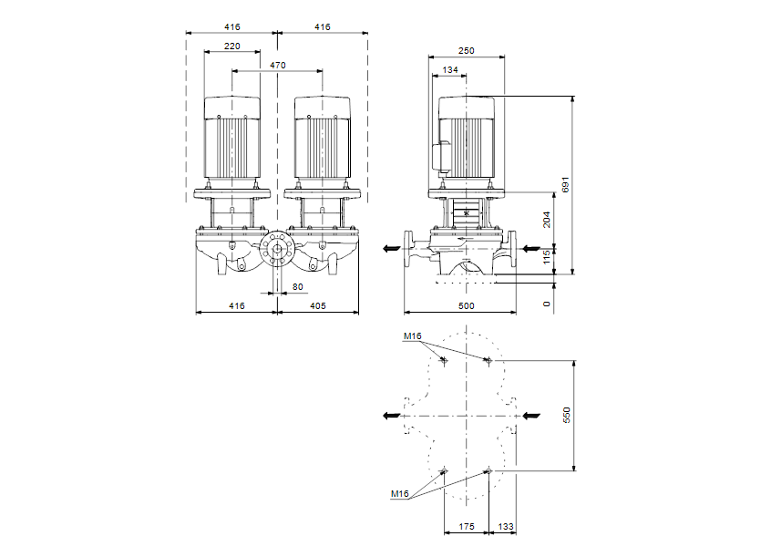 Габаритные размеры насоса Grundfos TPD 80-170/4-A-F-B-BAQE 400D 50HZ артикул: 96108905