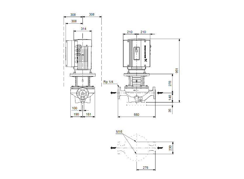 Габаритные размеры насоса Grundfos TPE 100-390/2-A-F-A-BQQE 3X400 50HZ артикул: 96110299