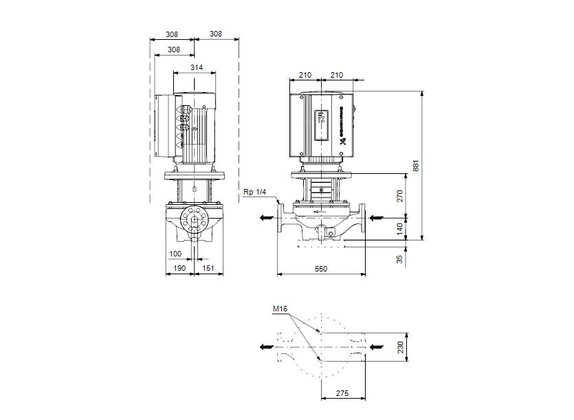 Габаритные размеры насоса Grundfos TPE 100-310/2-S-A-F-A-BQQE 3X400 50HZ артикул: 96275686