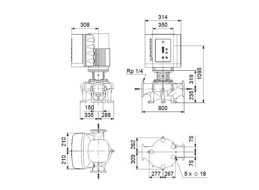 Габаритные размеры насоса Grundfos TPE 150-260/4-A-F-A-BAQE 3X400 50HZ артикул: 96306127