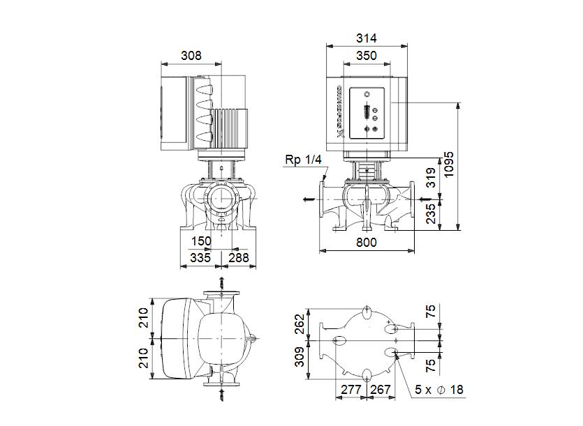 Габаритные размеры насоса Grundfos TPE 150-260/4-S-A-F-A-BQQE 3X400 50HZ артикул: 96306319