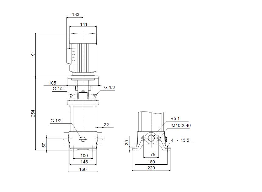 Габаритные размеры насоса Grundfos CR 1-2 A-A-A-V-HQQV артикул: 96552996