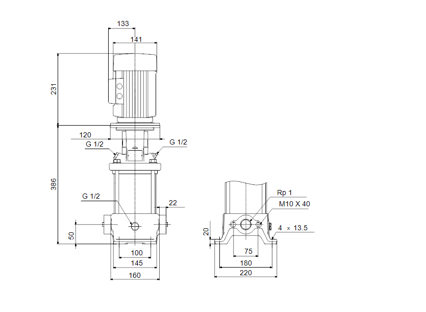 Габаритные размеры насоса Grundfos CR 1-10 A-A-A-V-HQQV артикул: 96556359