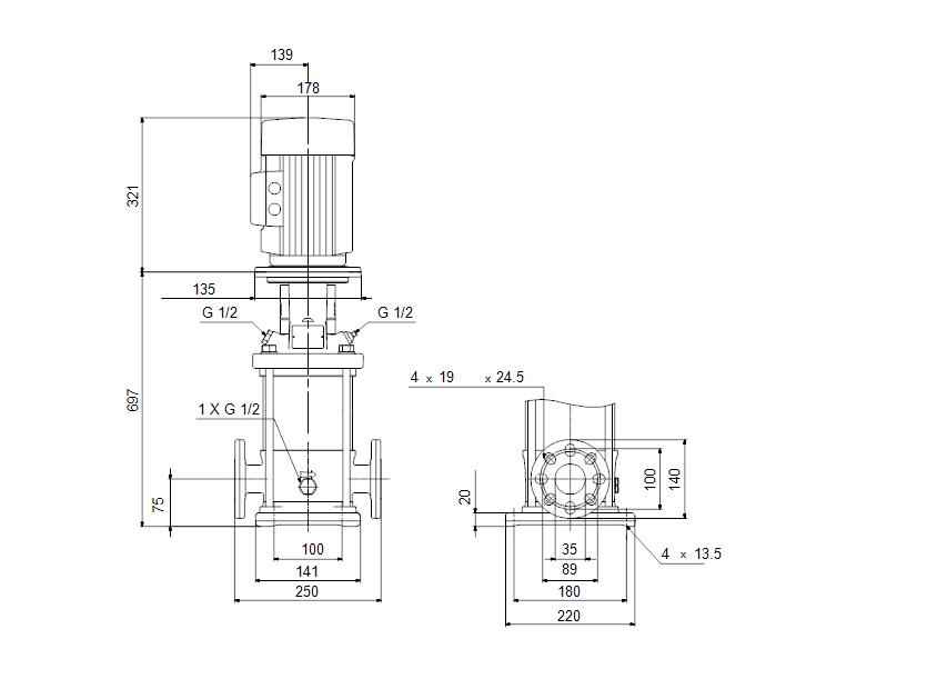 Габаритные размеры насоса Grundfos CR 1-25 A-FGJ-A-V-HQQV артикул: 96558295