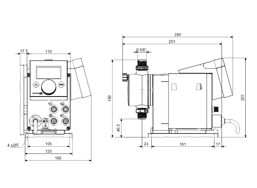 Габаритные размеры насоса Grundfos DDA 7.5-16 FCM-PVC/V/C-F-31I001FG артикул: 97722019