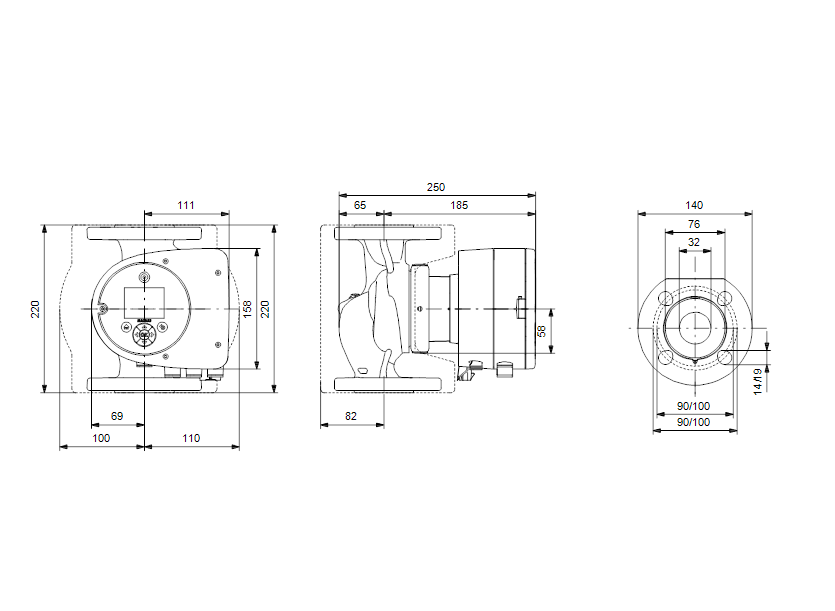 Габаритные размеры насоса Grundfos MAGNA3 32-100 F 220 1x230V PN6/10 артикул: 97924258