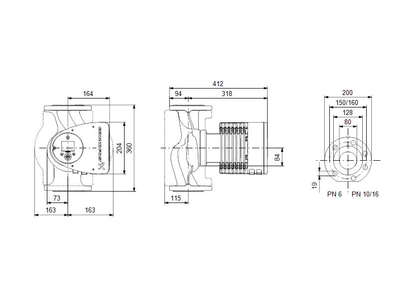 Габаритные размеры насоса Grundfos MAGNA3 80-80 F 360 1x230V PN10 артикул: 97924318