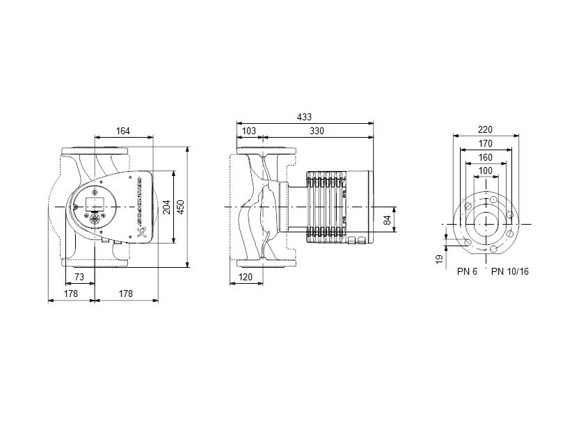Габаритные размеры насоса Grundfos MAGNA3 100-120 F 450 1x230V PN10 артикул: 97924325