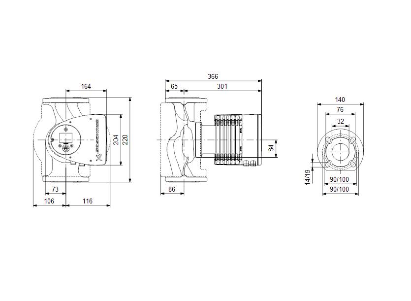 Габаритные размеры насоса Grundfos MAGNA3 32-120 F N 220 1x230V PN6/10 артикул: 97924346