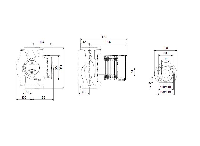 Габаритные размеры насоса Grundfos MAGNA3 40-150 F N 250 1x230V PN6/10 артикул: 97924352