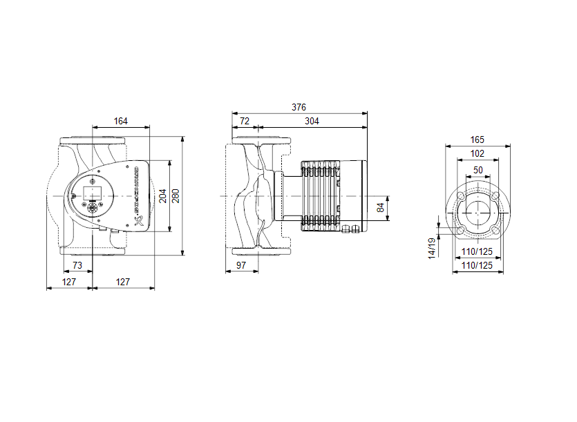 Габаритные размеры насоса Grundfos MAGNA3 50-150 F N 280 1x230V PN6/10 артикул: 97924359