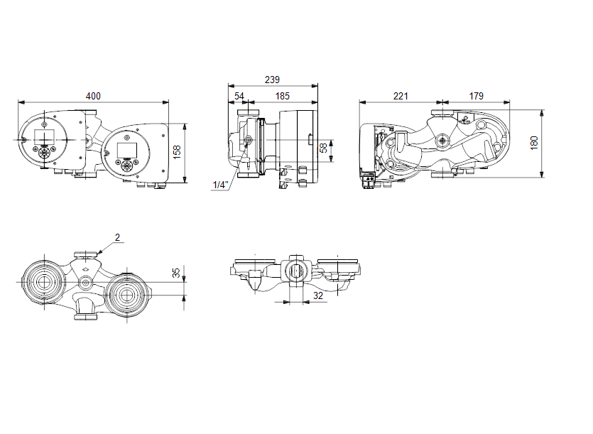 Габаритные размеры насоса Grundfos MAGNA3 D 32-40 артикул: 97924449