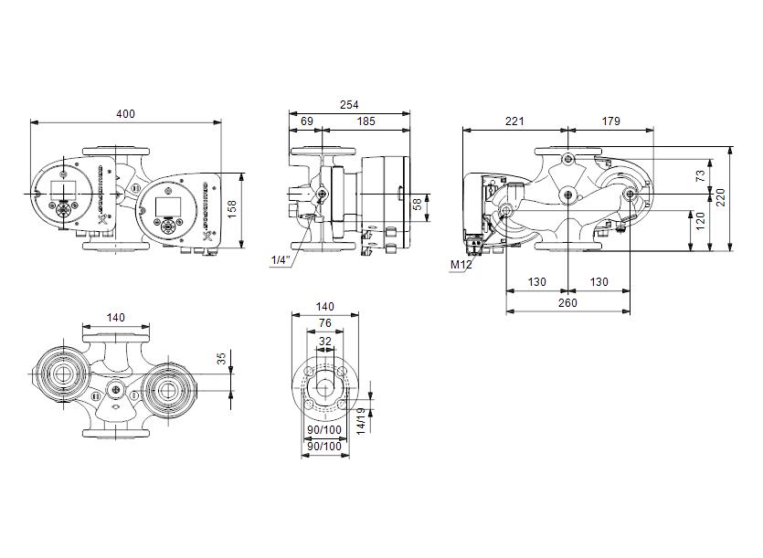 Габаритные размеры насоса Grundfos MAGNA3 D 32-100 F артикул: 97924453