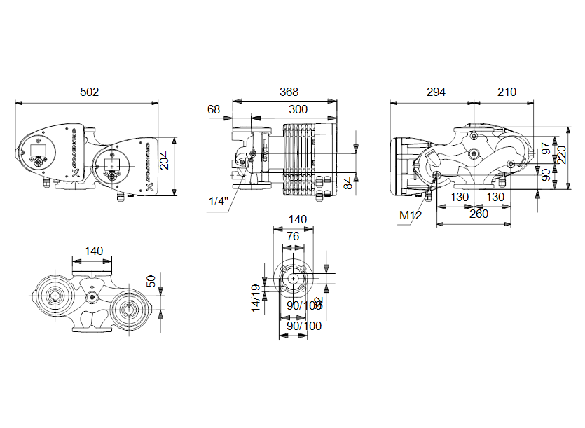 Габаритные размеры насоса Grundfos MAGNA3 D 32-120 F артикул: 97924454