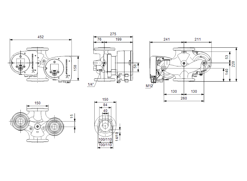 Габаритные размеры насоса Grundfos MAGNA3 D 40-40 F артикул: 97924461