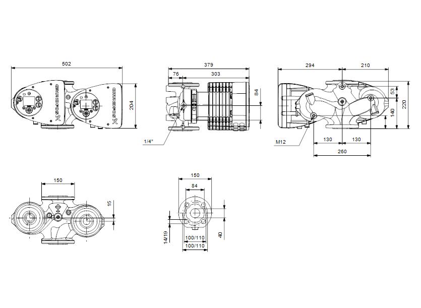 Габаритные размеры насоса Grundfos MAGNA3 D 40-100 F артикул: 97924464