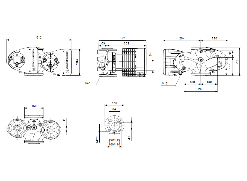 Габаритные размеры насоса Grundfos MAGNA3 D 40-120 F артикул: 97924465