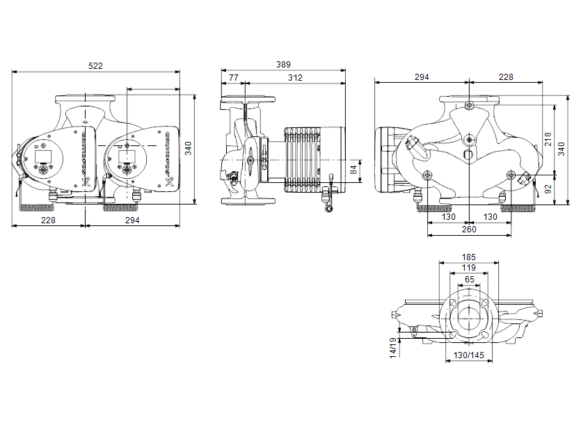 Габаритные размеры насоса Grundfos MAGNA3 D 65-60 F артикул: 97924490