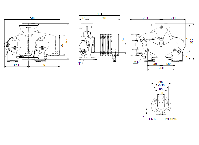 Габаритные размеры насоса Grundfos MAGNA3 D 80-100 F артикул: 97924504