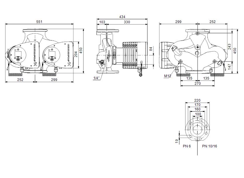 Габаритные размеры насоса Grundfos MAGNA3 D 100-60 F артикул: 97924507