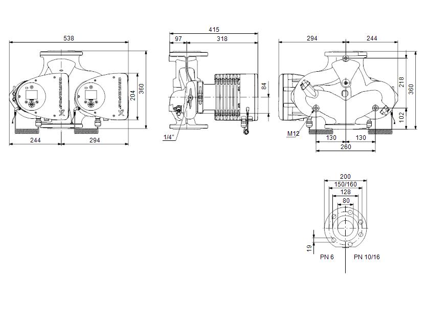 Габаритные размеры насоса Grundfos MAGNA3 D 80-100 F артикул: 97924514