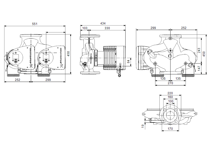 Габаритные размеры насоса Grundfos MAGNA3 D 100-100 F артикул: 97924519