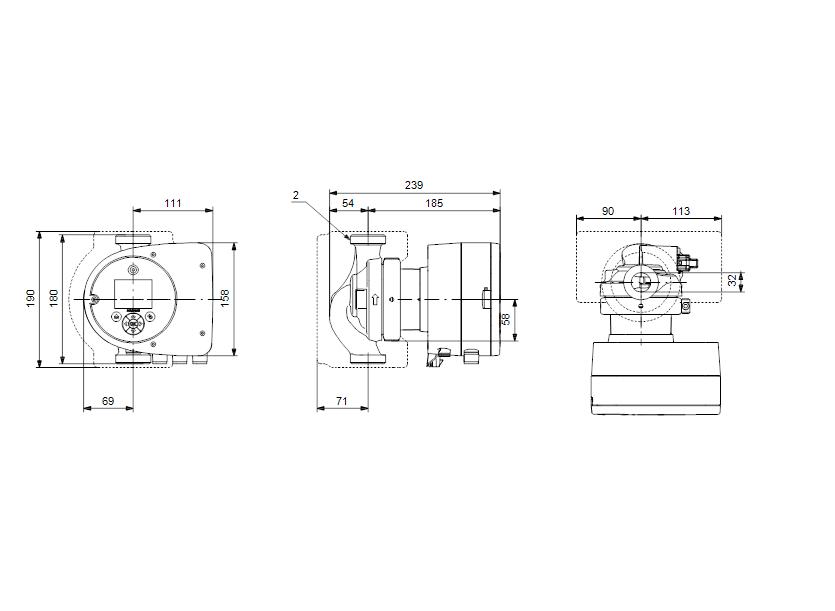 Габаритные размеры насоса Grundfos MAGNA3 32-120 N 180 1x230V PN10 артикул: 98609711