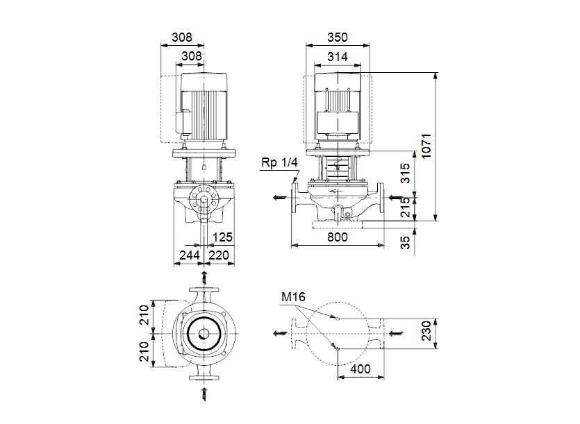 Габаритные размеры насоса Grundfos TPE 125-300/4-A-F-A-BQQE 3X400 50HZ артикул: 98742608
