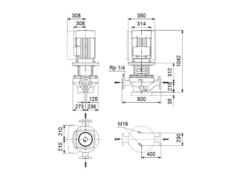 Габаритные размеры насоса Grundfos TPE 125-190/4-S-A-F-A-BQQE 3X400 50HZ артикул: 98743757