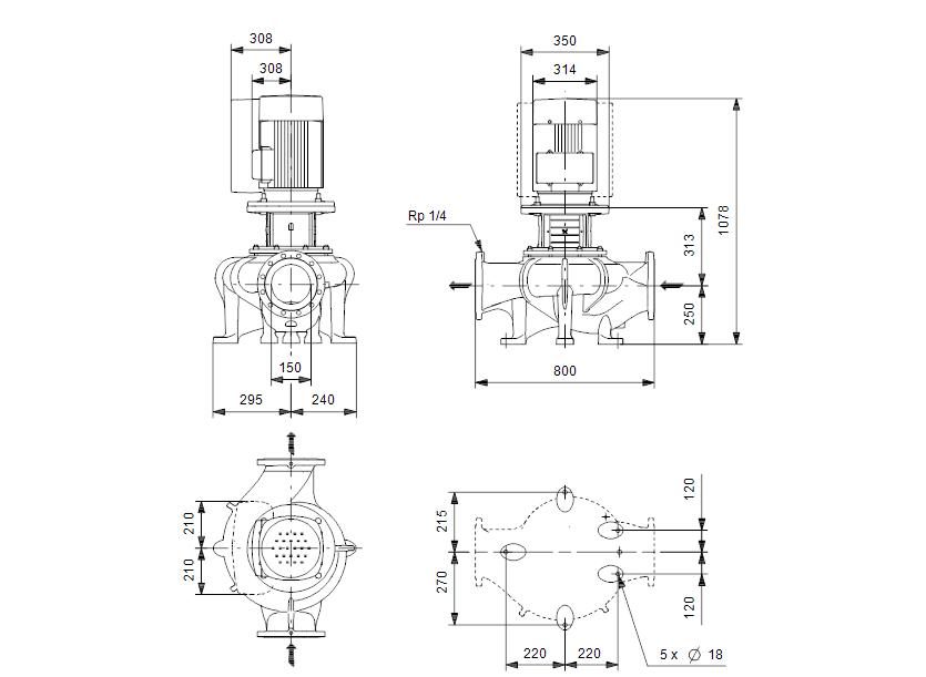 Габаритные размеры насоса Grundfos TPE 150-155/4-S-A-F-A-BQQE 3X400 50HZ артикул: 98908279