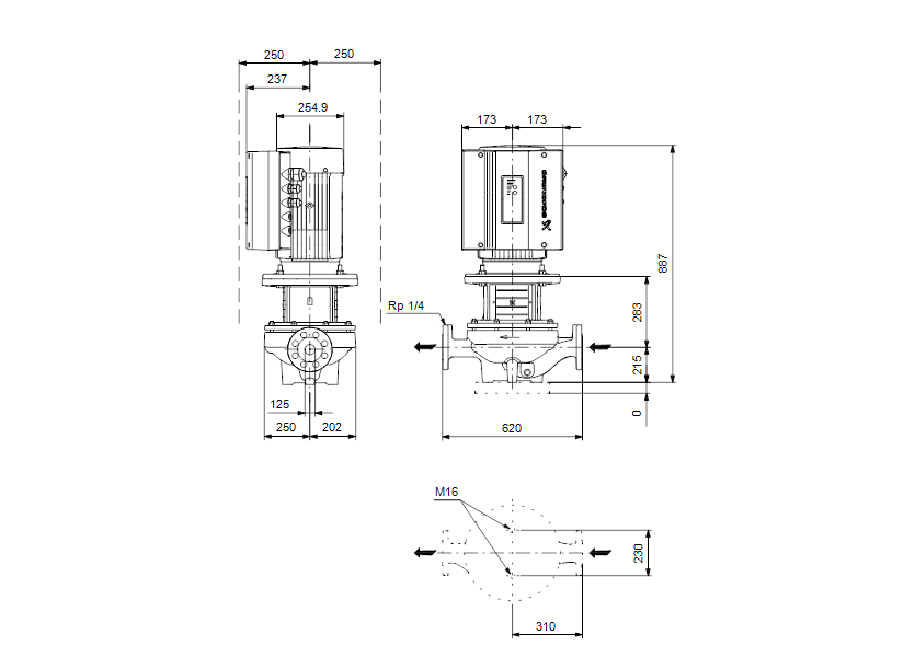 Габаритные размеры насоса Grundfos TPE 125-160/4-A-F-A-BAQE 3X400 50HZ артикул: 99113694