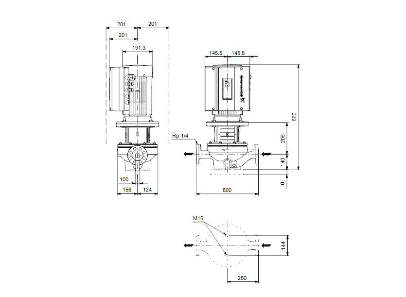 Габаритные размеры насоса Grundfos TPE 100-160/2-S-A-F-A-BAQE 3X400 50HZ артикул: 99114587