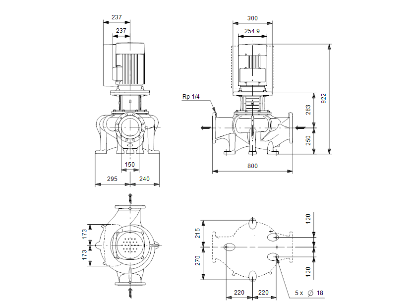 Габаритные размеры насоса Grundfos TPE 150-110/4-S-A-F-A-BQQE 3X400 50HZ артикул: 99114733